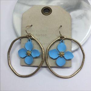 NWT Anthropologie Blue Flower Drop Earrings